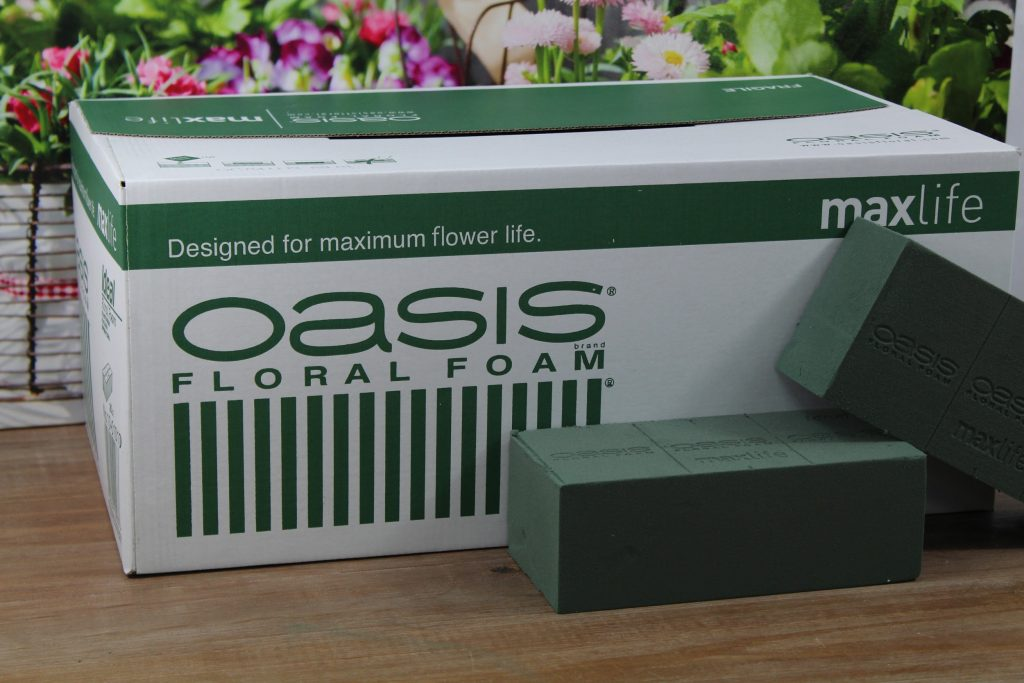 box of Oasis floral foam for flower arranging