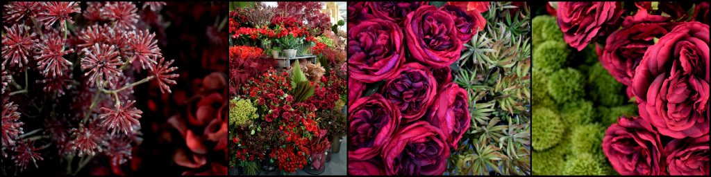 Dark red artificial flowers