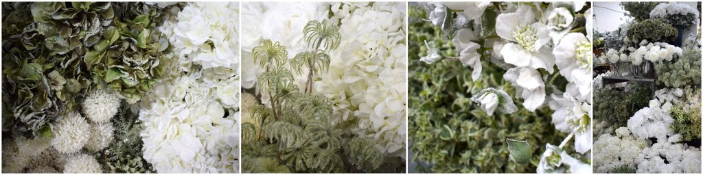 white artificial flowers range