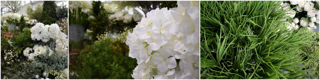 white artificial flowers and foliage range