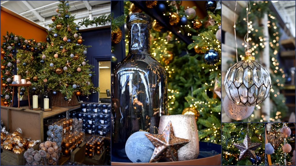 Urban Christmas decorations range in midnight blue and copper