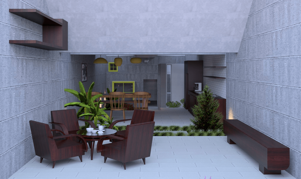 concrete living space with dark furniture and plants