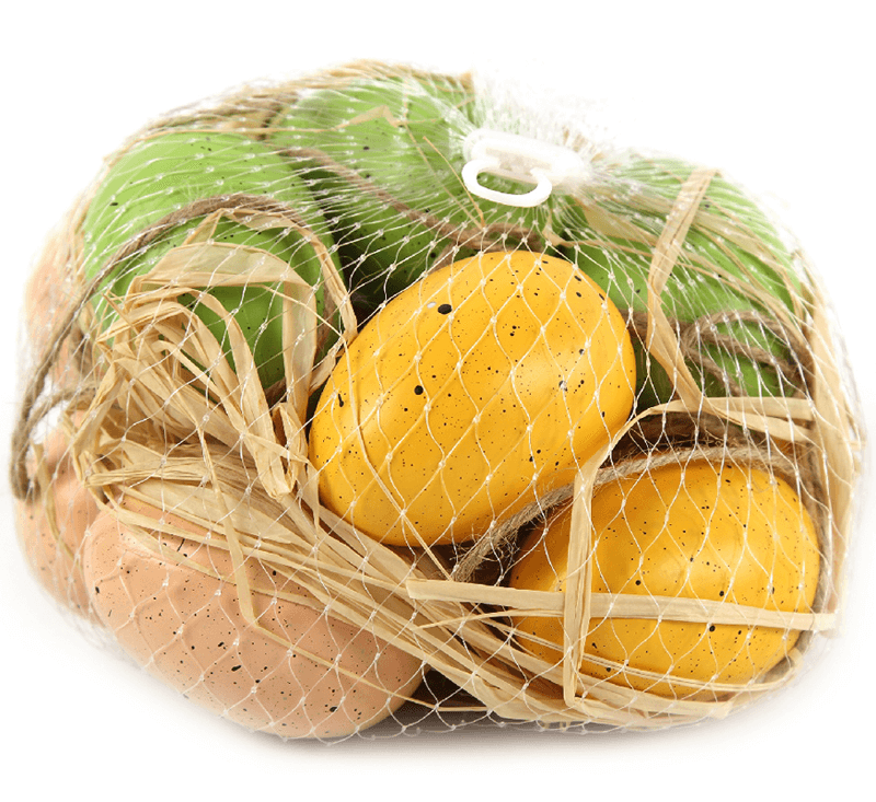 yellow, green, beige speckled hanging eggs for easter
