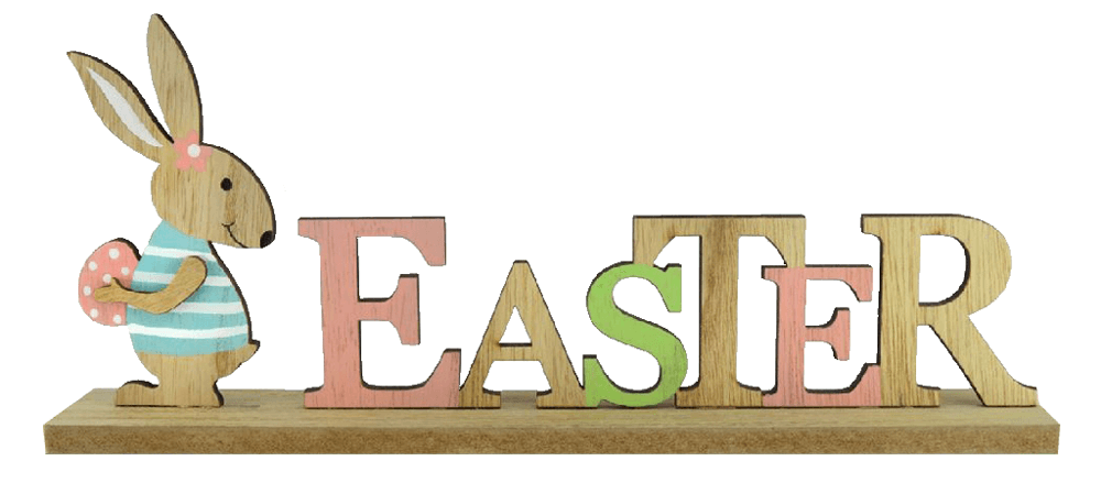 pastel colour wooden easter sign with bunny