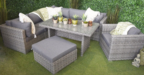 San Marino Rattan outdoor corner sofa set with table, pouffe, single chair in grey
