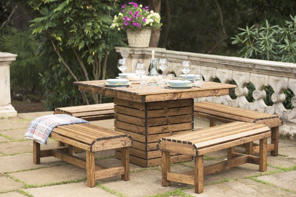 RSPB wooden outdoor table and bench sets