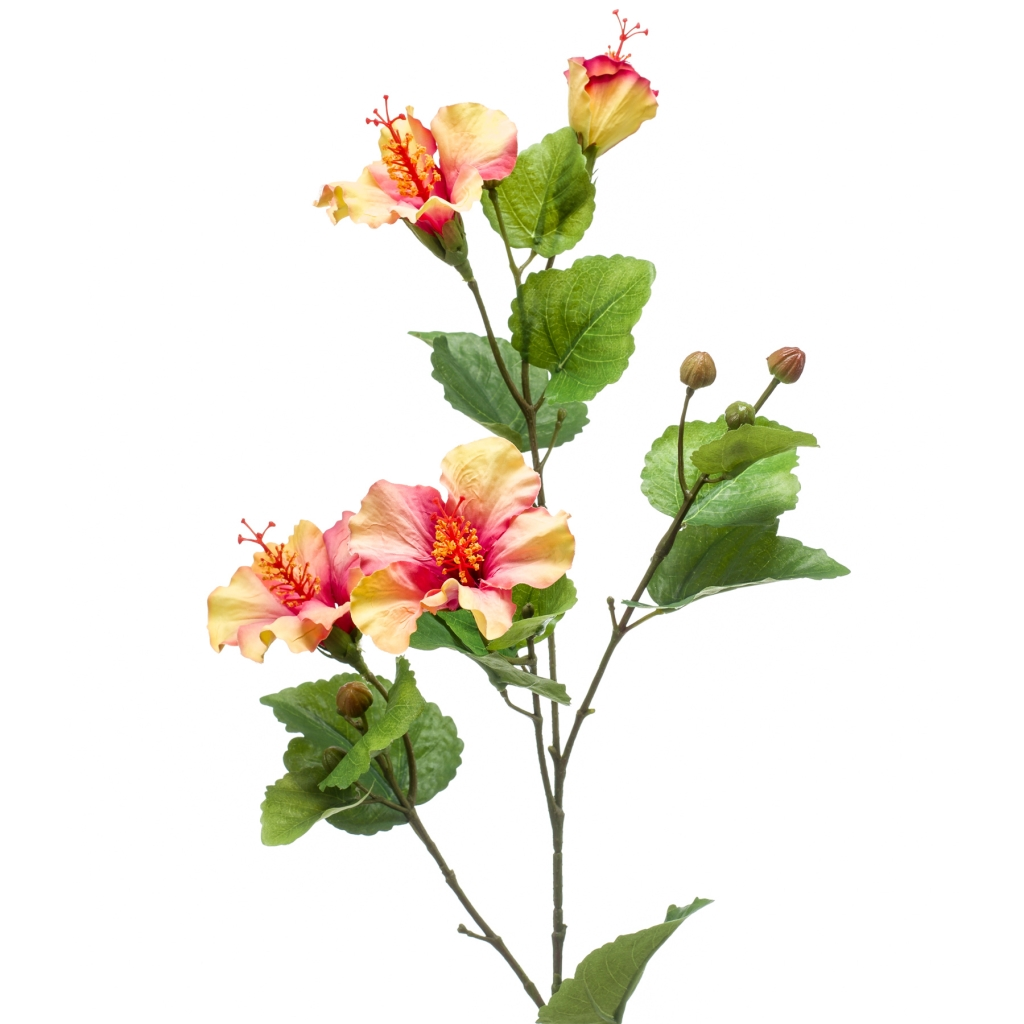 artificial hibiscus spray pink yellow