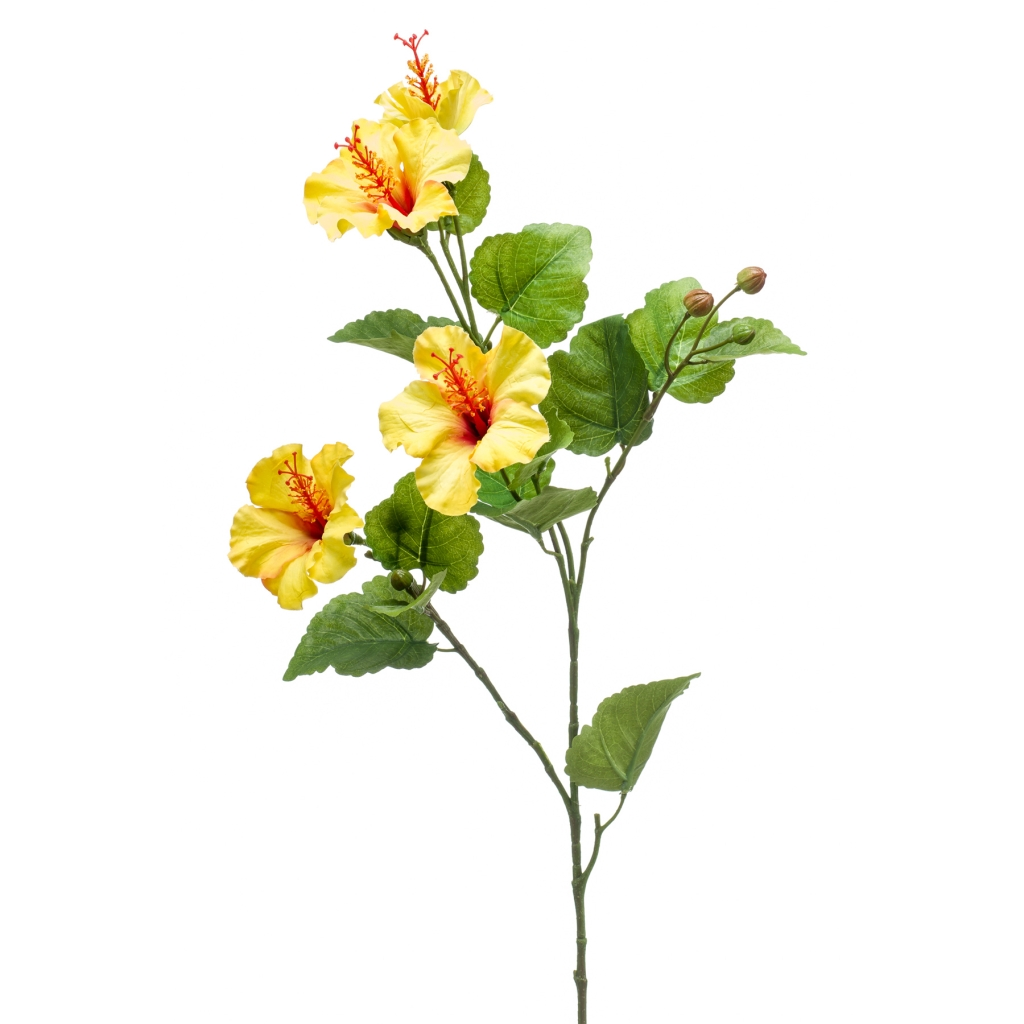 artificial hibiscus spray in yellow