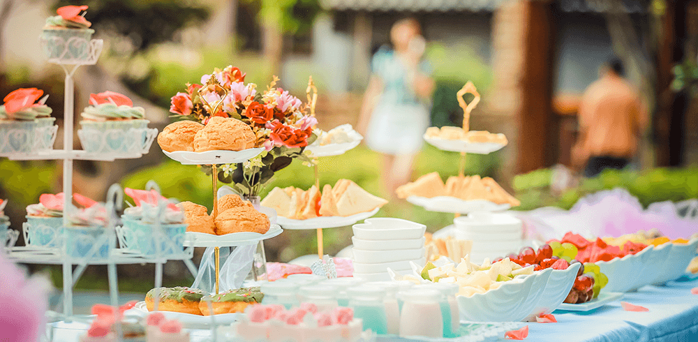 Baby Shower Table with Food Outside