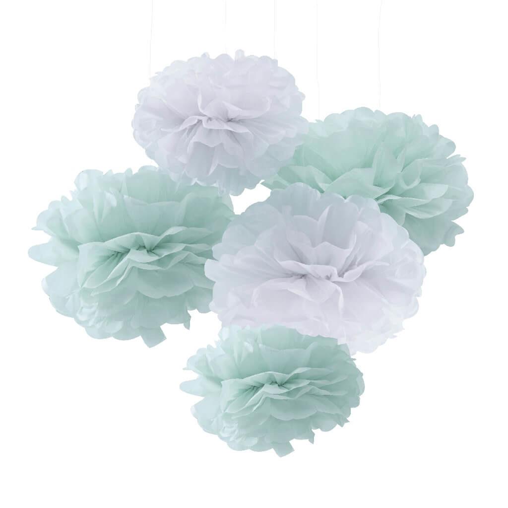 Hello World Tissue Paper Pom Poms Mint & White