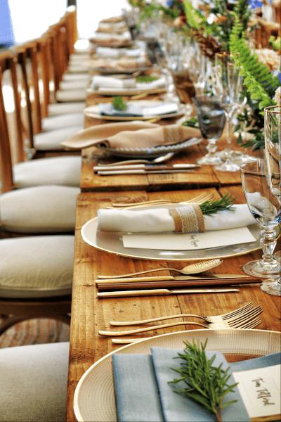 summer wedding centrepiece with herbs