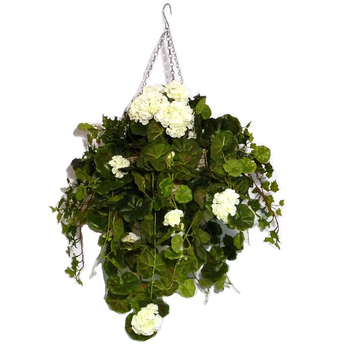 Artificial Hanging Basket with Cream Geraniums and trailing Ivy