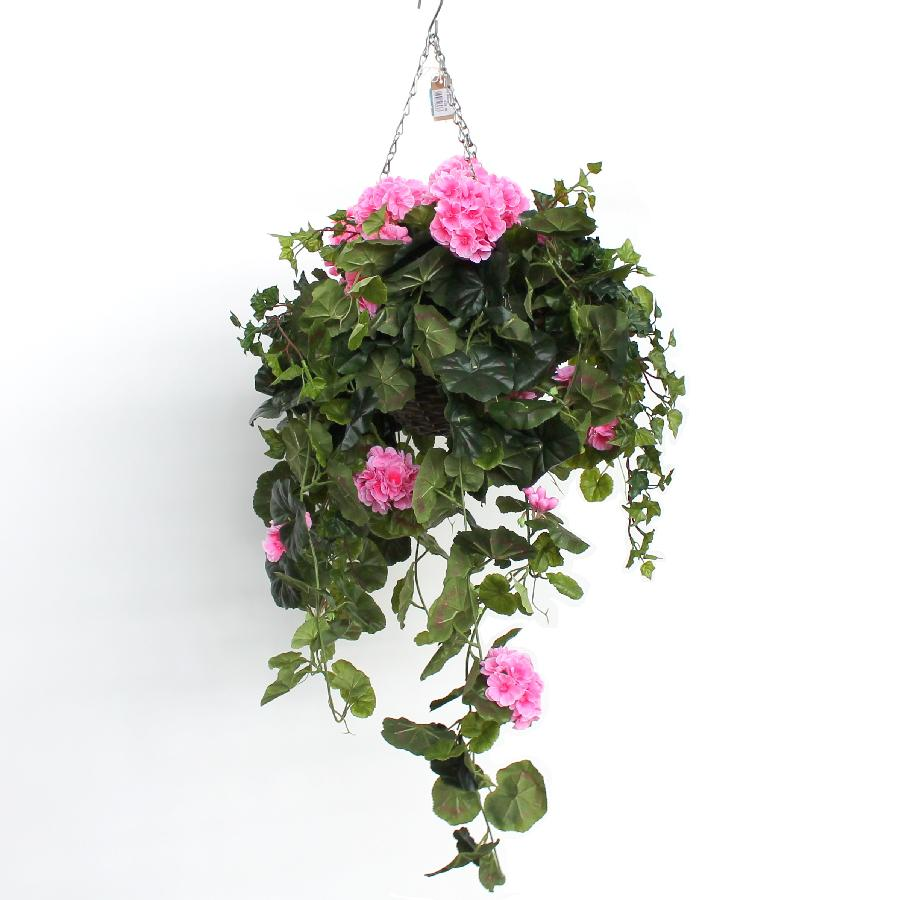 Artificial Hanging Basket with Pink Geraniums and Trailing Ivy