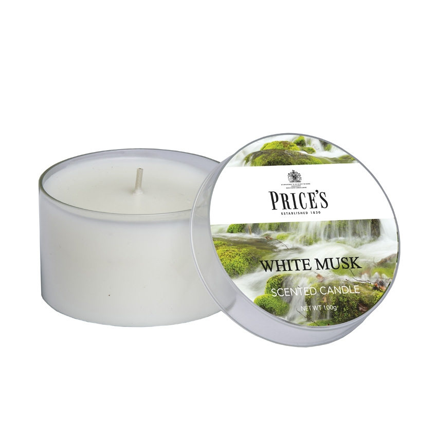 Price's White Musk Scented Tin Candle