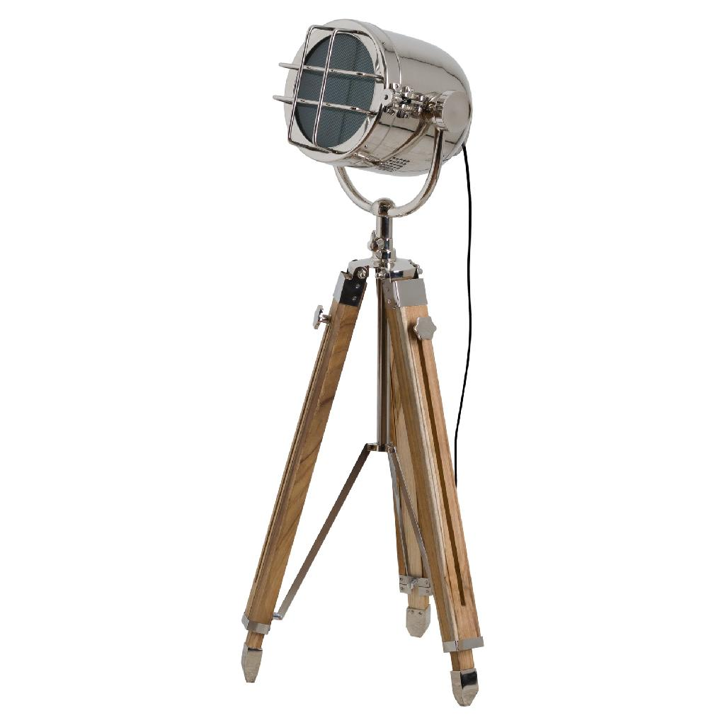 industrial look interiors - Nickel Industrial Spotlight Tripod Lamp 140cm