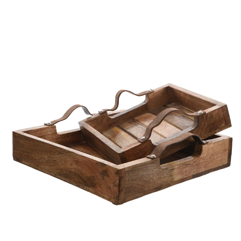 industrial style interior - Mangowood Tray with Leather Handle 39cm