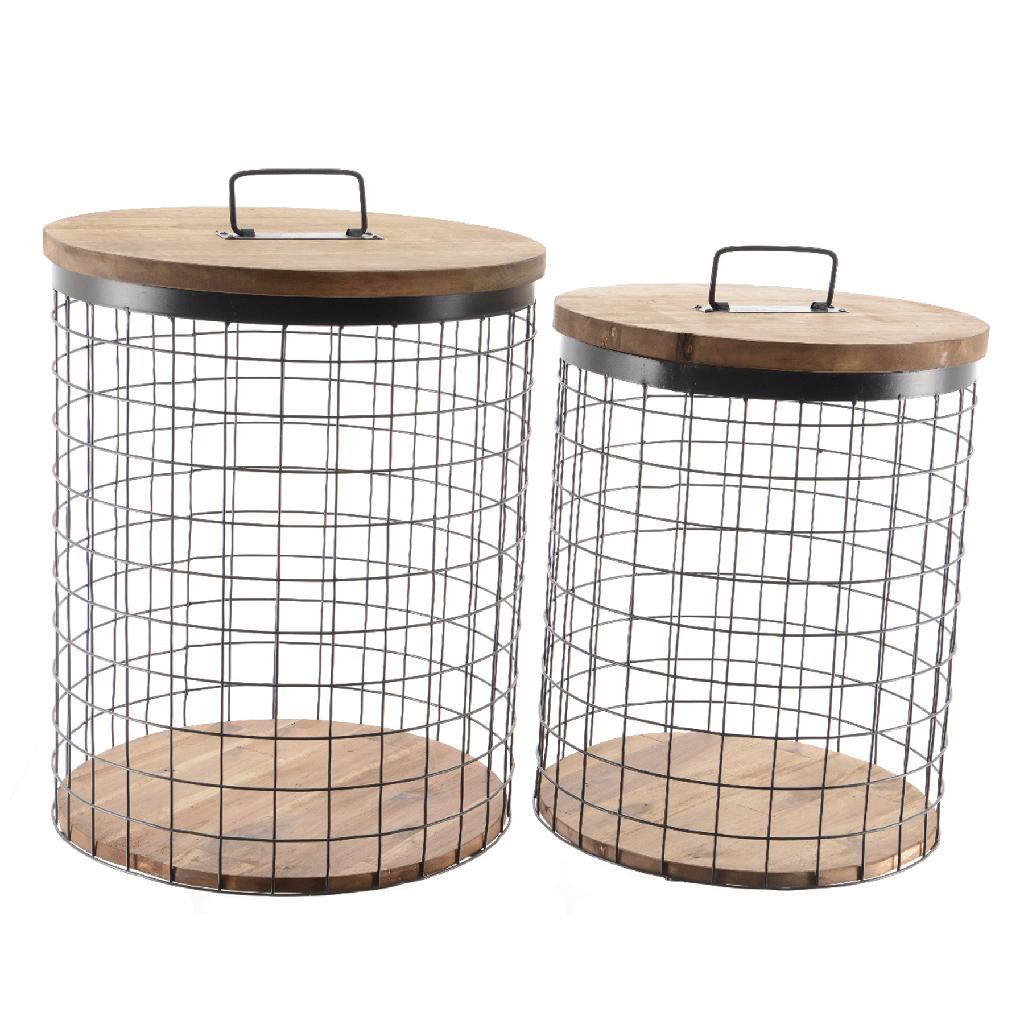 industrial style - Metal Storage Basket with Wooden Lid Large Black