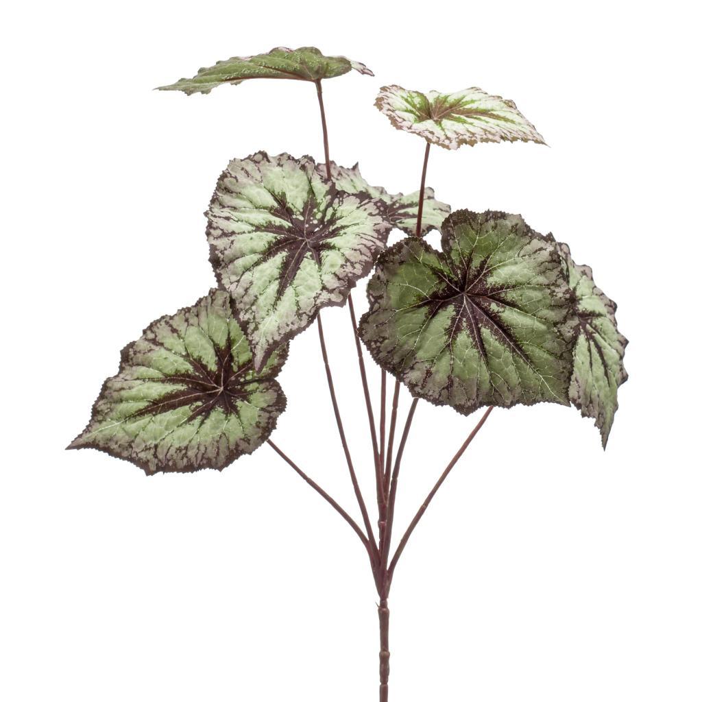 Artificial Begonia Leaf Spray Grey Purple