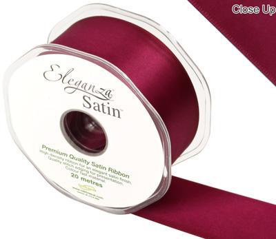 Eleganza Double Faced Satin Ribbon Burgundy - autumn wreath