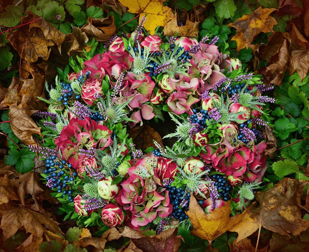 purple floral autumn wreath
