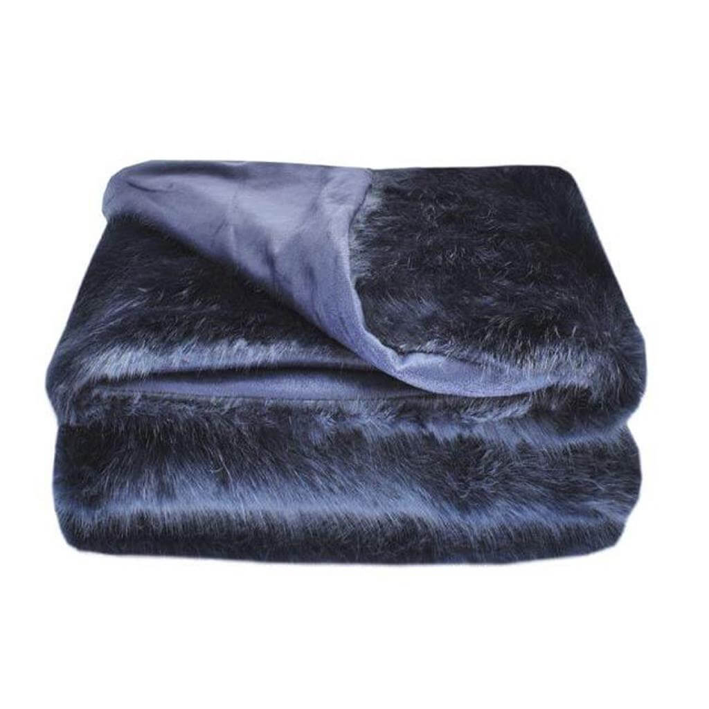 midnight faux fur throw blue 130 x-170cm