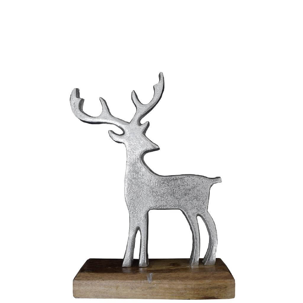 aluminium reindeer on wooden base 22cm