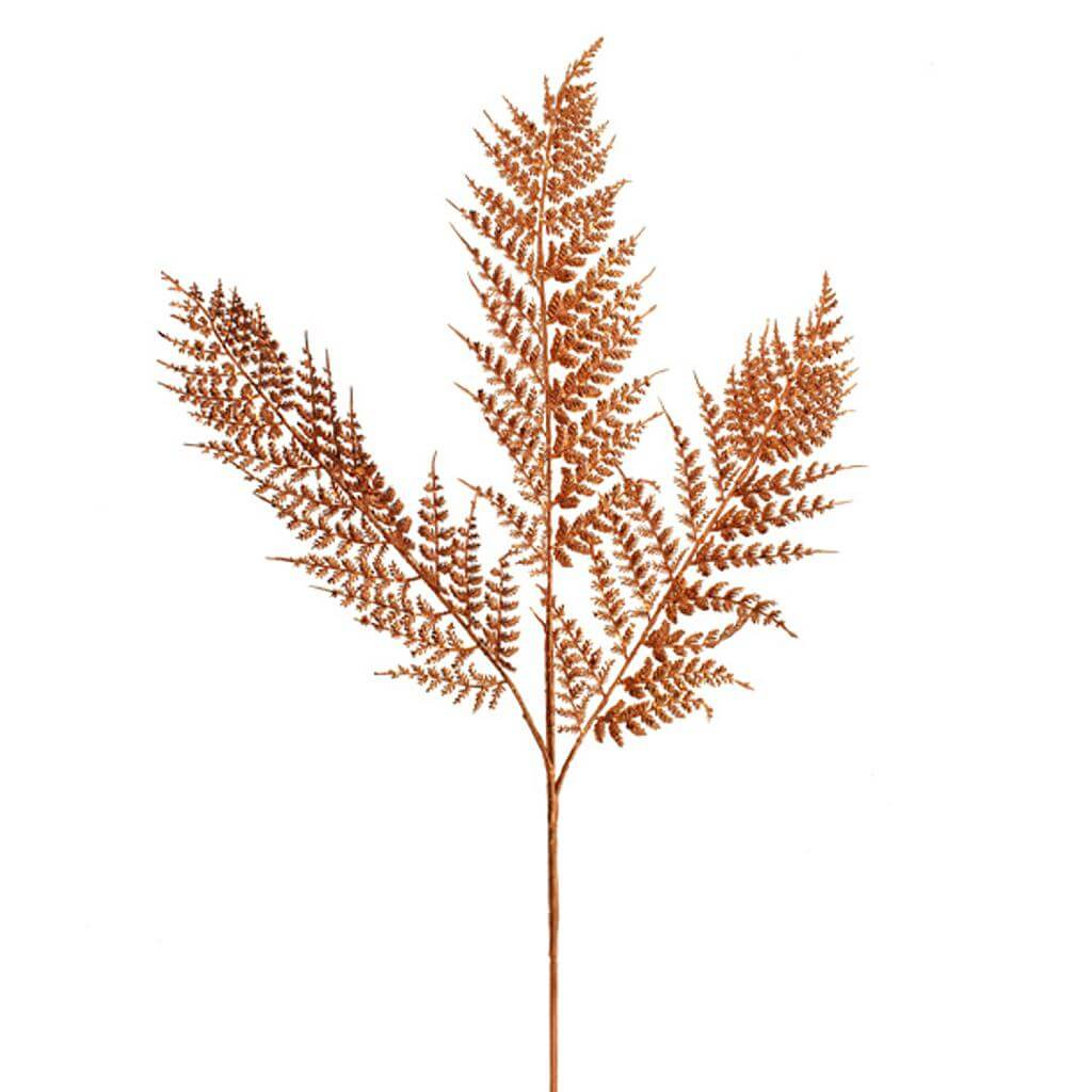artificial glitter parsley fern spray copper 90cm