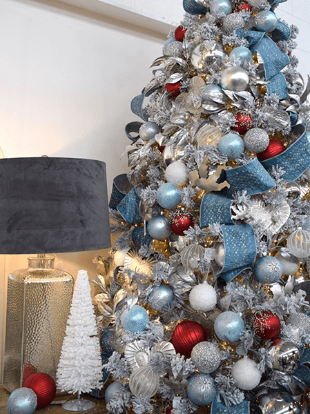 silver, red and light blue christmas theme with suede lamp