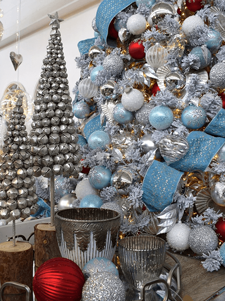 silver, red and light blue christmas theme with bell trees
