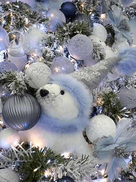 north pole theme - arctic blue christmas theme with plush seal