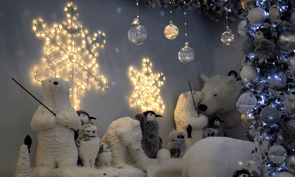 north pole theme - arctic blue christmas theme with plush polar bears and snowflakes