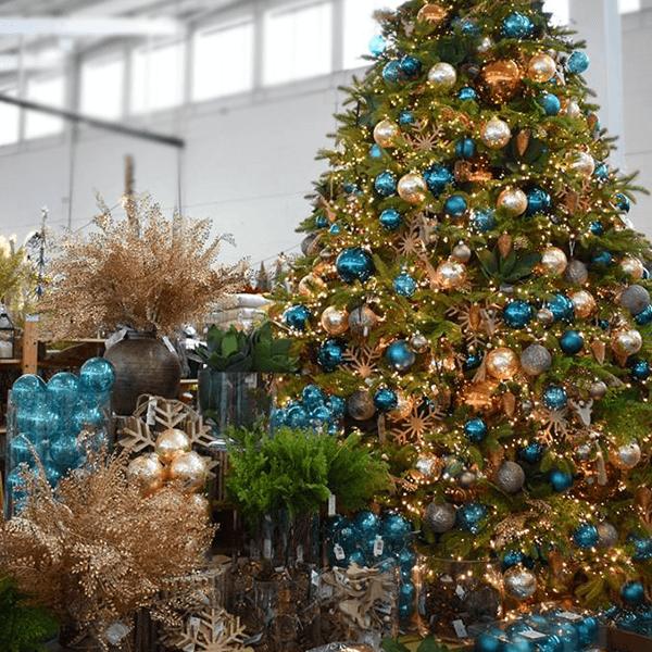 copper and dark blue christmas theme - christmas tree