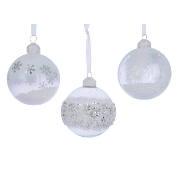 frosted snow glass bauble assorted design clear 8cm christmas