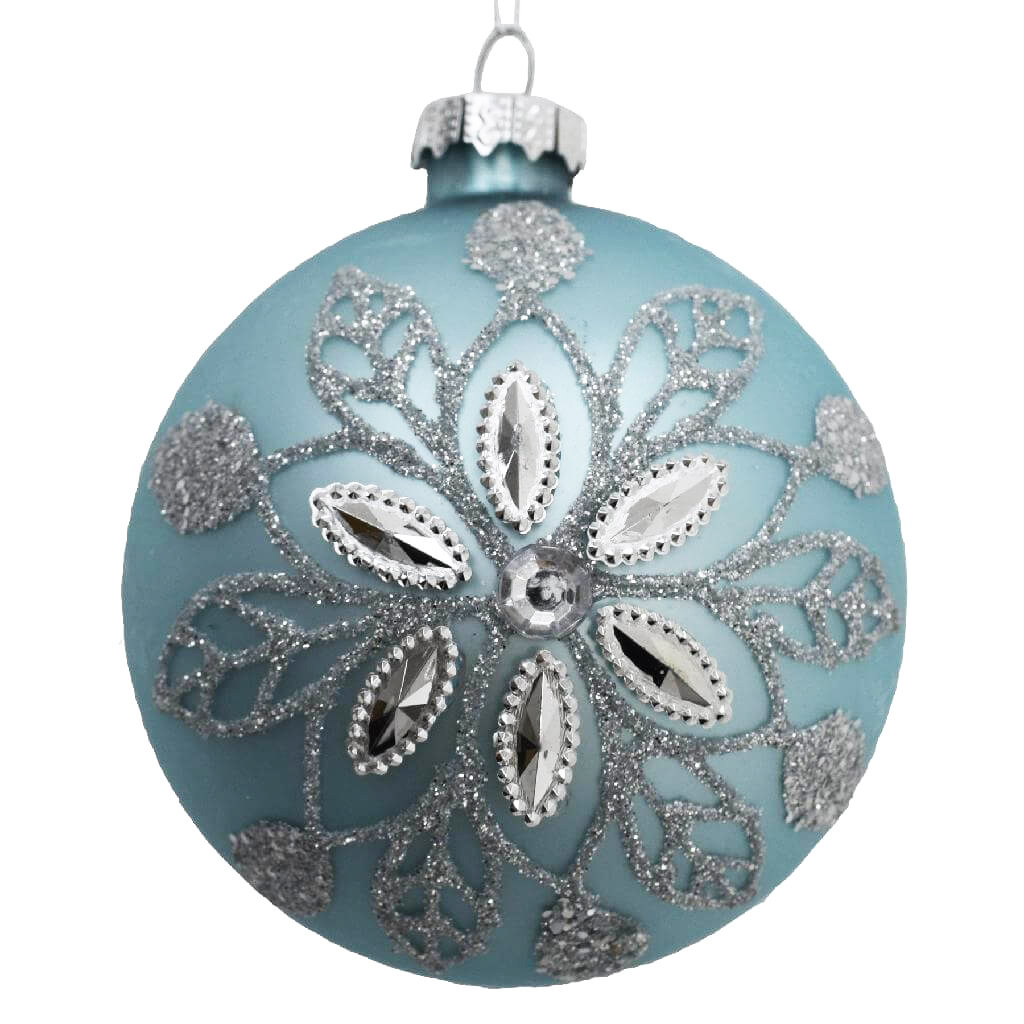 glass flower bauble ice blue 8cm christmas