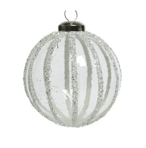 glitter 3d line glass bauble assorted design white 8cm christmas