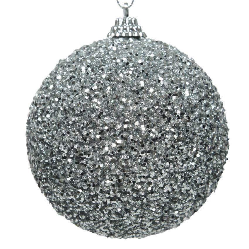 glitter bead bauble silver 8cm christmas