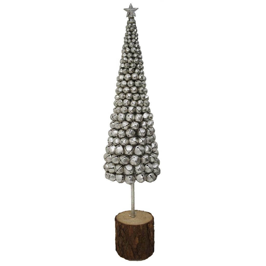 glitter bell tree on bark base silver 90cm