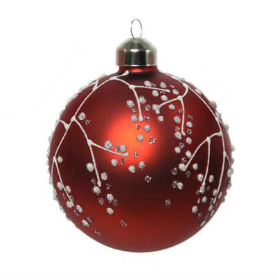 glitter branch glass bauble assorted design 8cm christmas