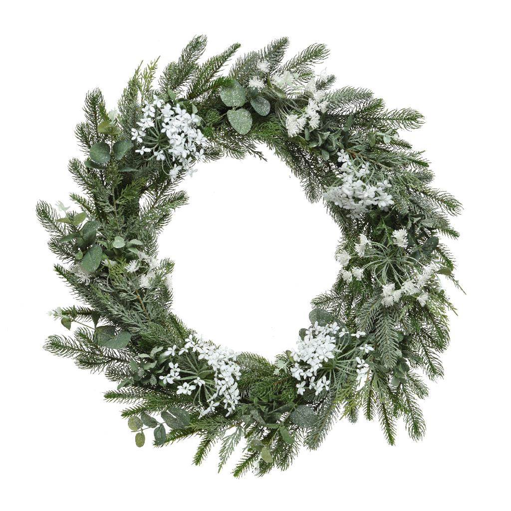 hogweed christmas wreath green white 80cm
