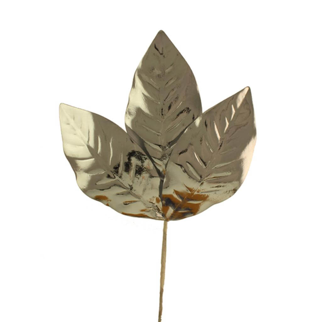 magnolia leaf spray leatherette silver 60cm christmas