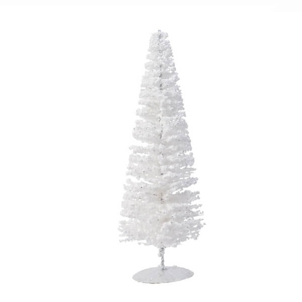 metal tree on stand glitter white 38cm christmas