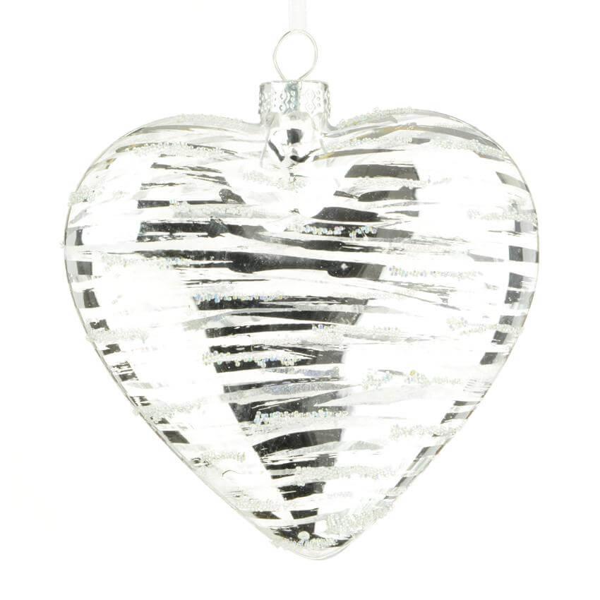 monique heart bauble silver-10cm christmas tree decoration
