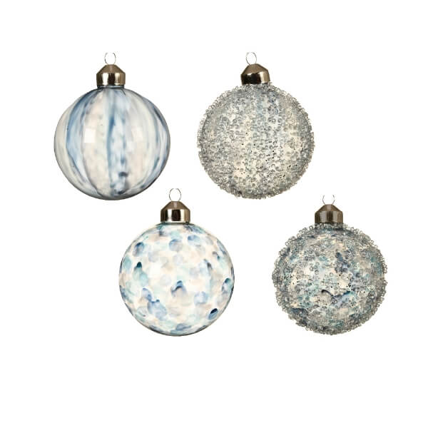 painted glass bauble assorted design blue 8cm christmas