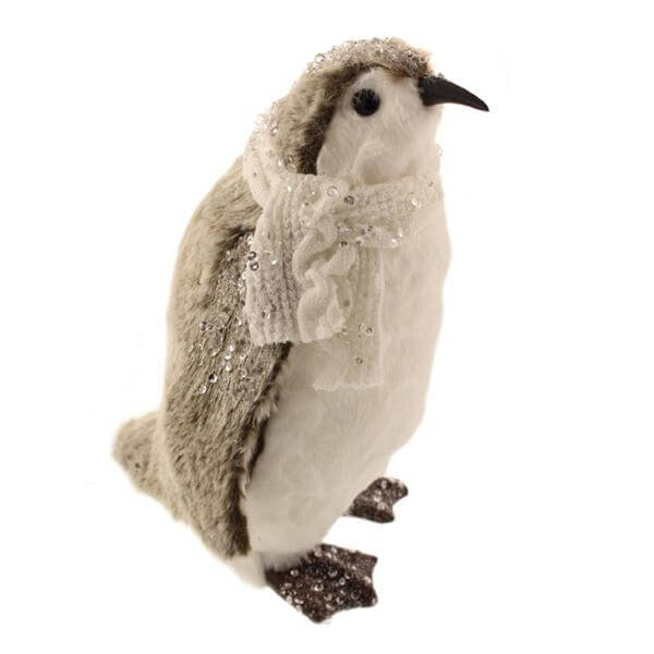 penguin with sequins grey 30cm christmas