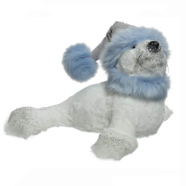 plush seal blue white 25cm christmas