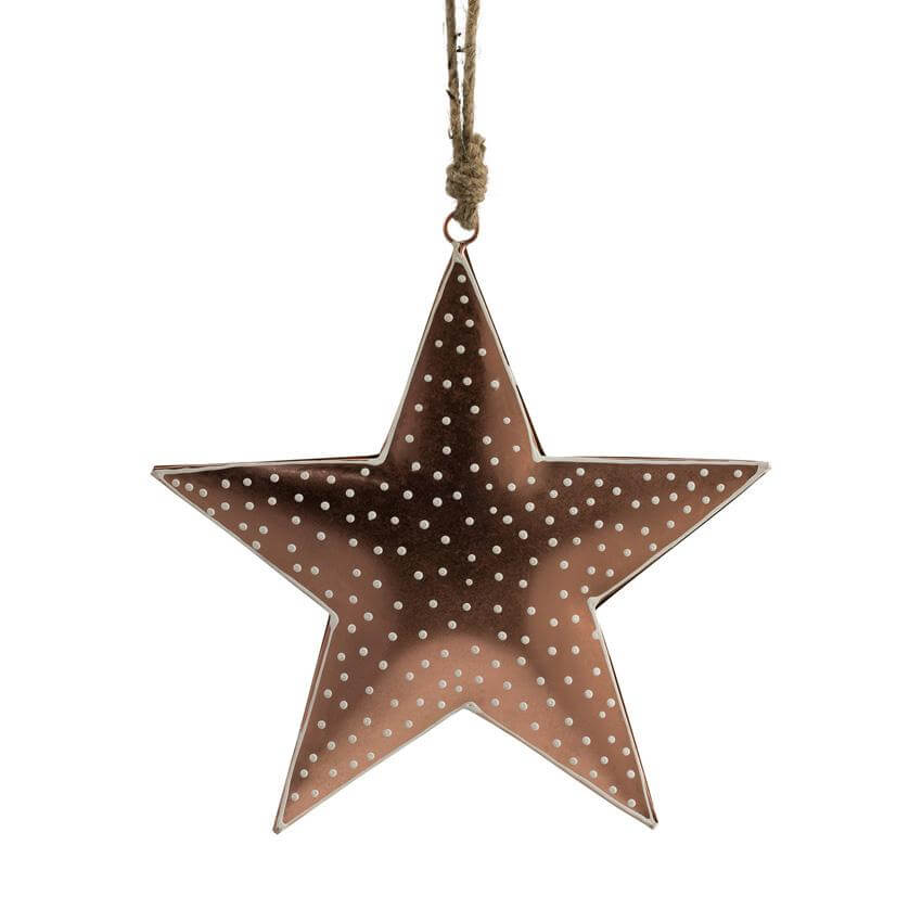 polka dot hanging star copper 15cm christmas tree decoration