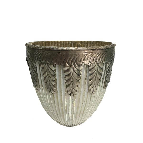 ribbed Grecian decorative tealight-holder antique white silver 16 x 15cm