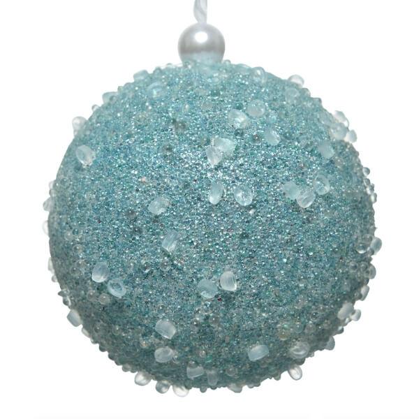 sequin bauble arctic blue 8cm christmas
