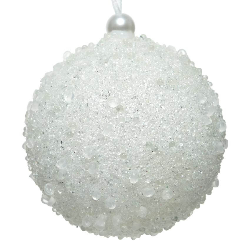 sequin bead bauble winter white 8cm christmas