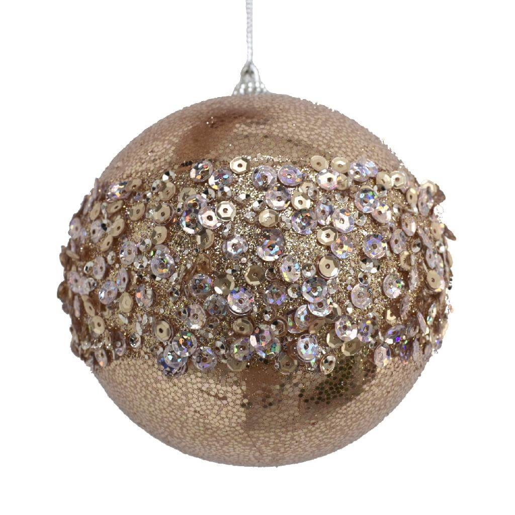 sequin stripe bauble copper 10cm christmas